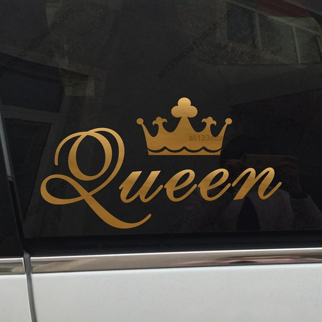King crown gold queen crown gold funny car car decal sticker vinyl truck boat die cut no background