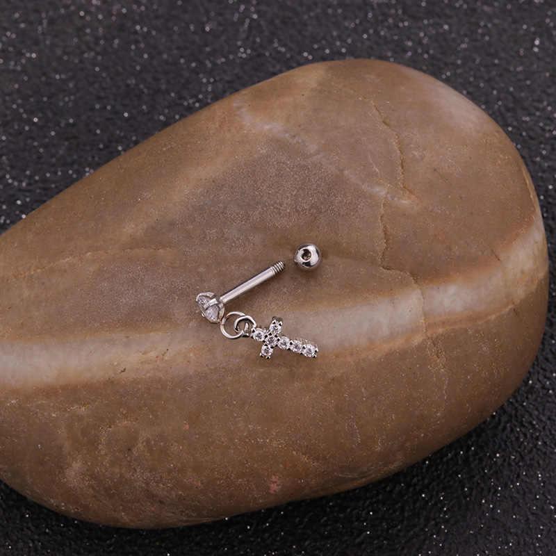 Sellsets 1 PC Dangle Piercing Cartilagem Brinco Com Cz Tragus Helix Conch Delicados Coroa Do Coração Da Flor Da Estrela Cruz Asa Do Parafuso Prisioneiro brinco