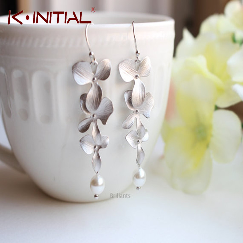 Kinitial Hot Sale Statement Orchid Flower And Pearl Drop
