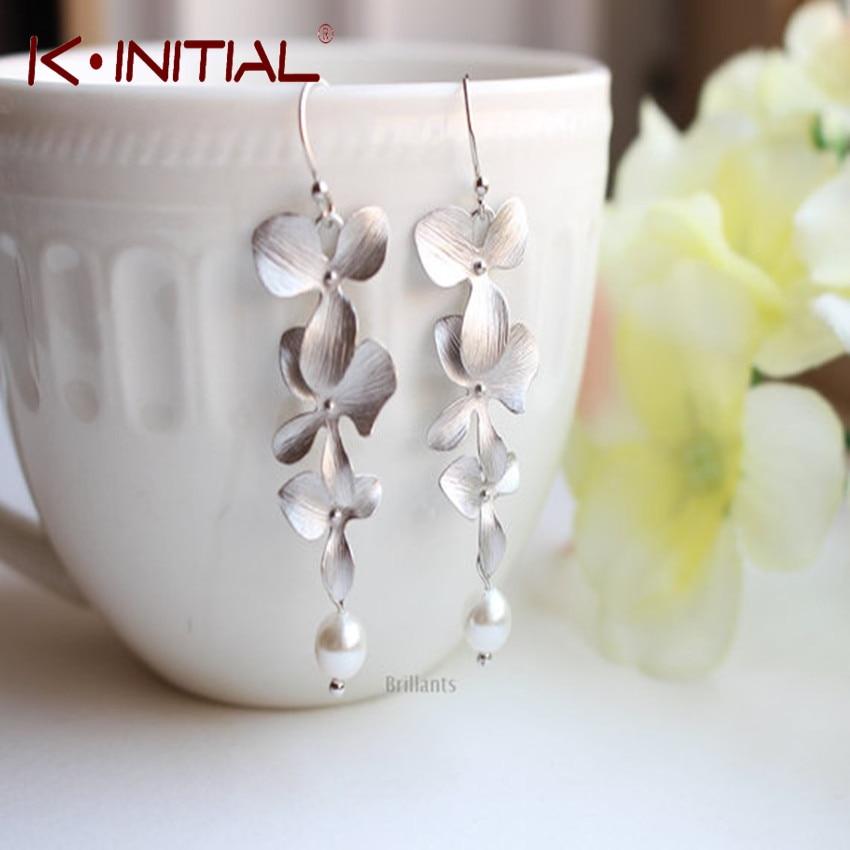Kinitial Hot Sale Statement Orchid Flower And Pearl Drop Earrings In Silver Earring For Women Pearl Jewelry Earrings Femme 2019