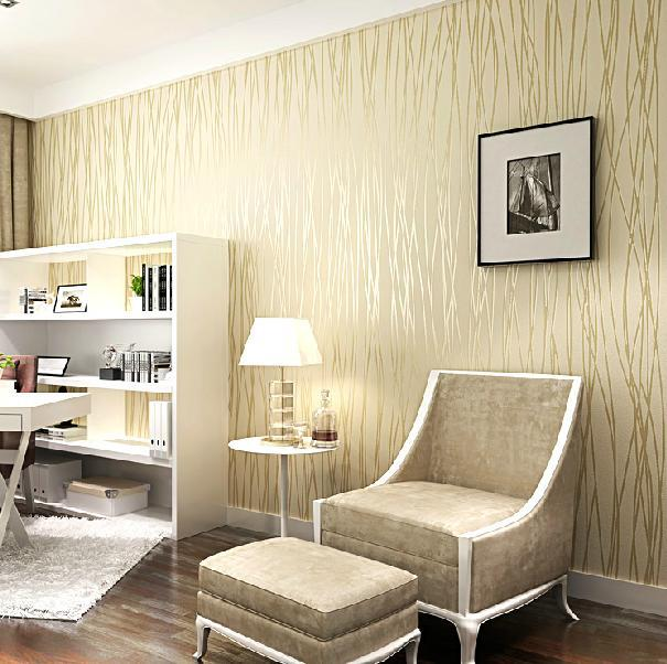 modern wallpaper living room fashion wallpaper non woven velvet flocking plain stripe 17392