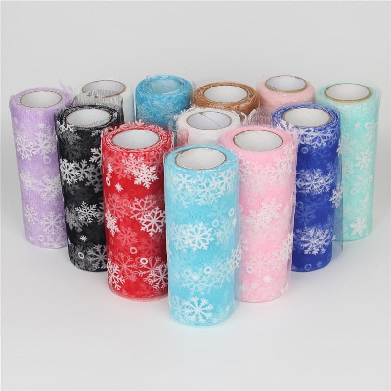 15cm 10Y Snowflake Soft Fabric Tulle Roll Tutu Skirt Pom DIY Gift Bow Baby Shower Party Wedding Birthday Christmas Decoration