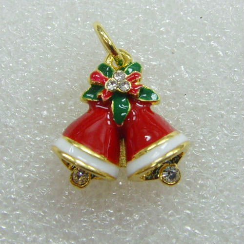 free shipping enamel christmas jingle bell charm pendant ornement jewelry