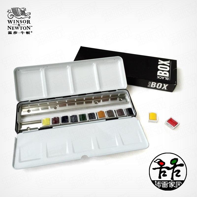 Бесплатная доставка Winsor Ньютон Ограниченная серия классический черный ящик художника уровень твердых акварельные краски 12 цветов