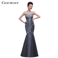 Strapless Crepe Women Formal Evening Gowns Floor Length Dovetail Mermaid Evening Party Prom Dress Sleeveless Crystal