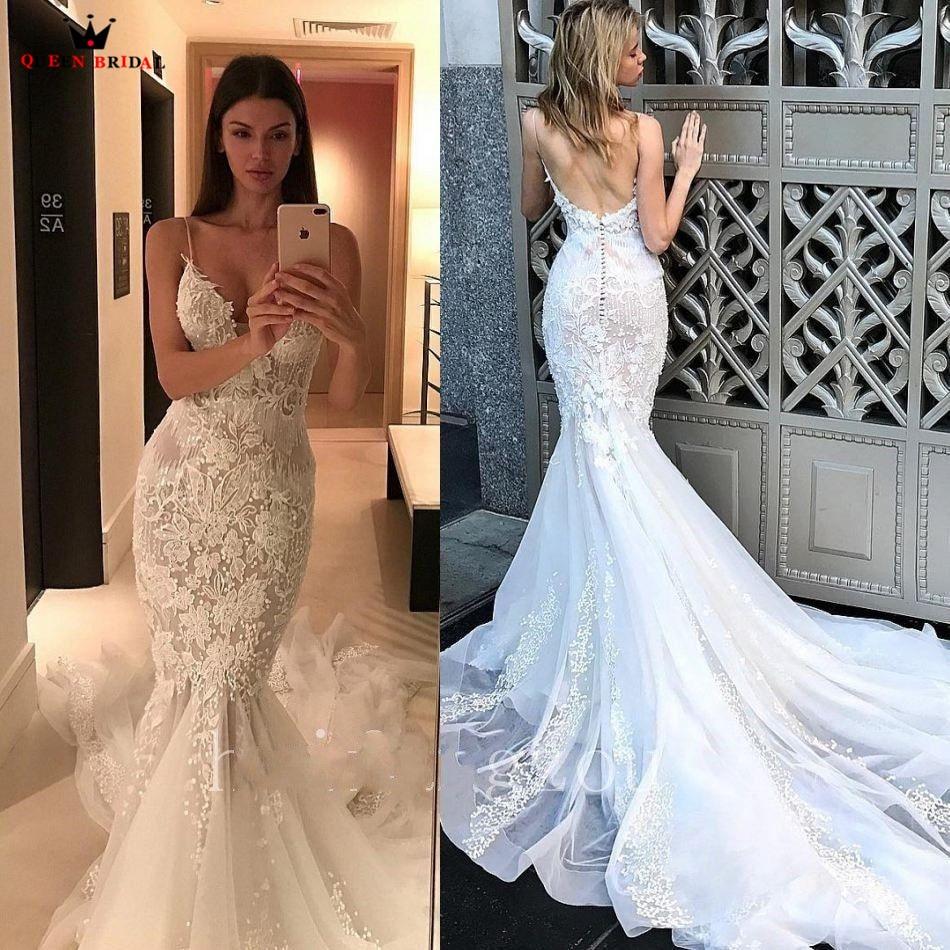 Mermaid Sweetheart Big Train Tulle Lace Flowers Sexy Bride Wedding Dresses 2018 New Fashion Wedding Gowns Custom Made YB33
