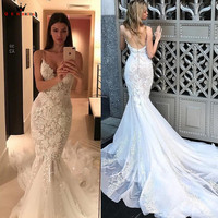 Mermaid Sweetheart Big Train Tulle Lace Flowers Sexy Bride Wedding Dresses 2018 New Fashion Wedding Gowns Custom Made YB33