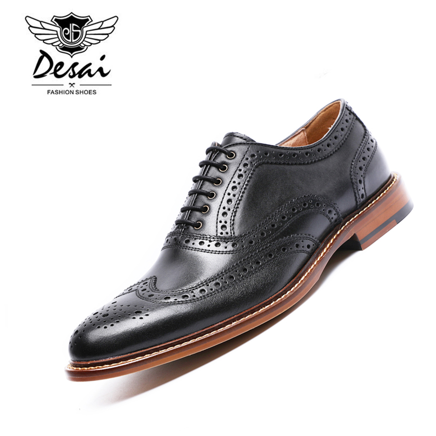 DESAI Brand British Style Full Grain Leather Men Carving Oxford Shoes Vintage Design Men Brogue Business Shoes Size 38-44