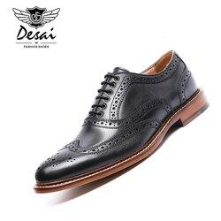 DESAI Brand British Style Full Grain Leather Men Carving Oxford Shoes Vintage Design Men Brogue Business Shoes Size 38-44