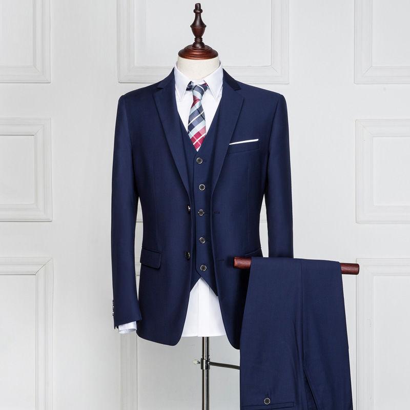 Fashionable men's suits Navy Blue Red Black Men Wedding Suits Bridegroom Tuxedos Formal Business Suit jacket+pants+vest 3 Piece