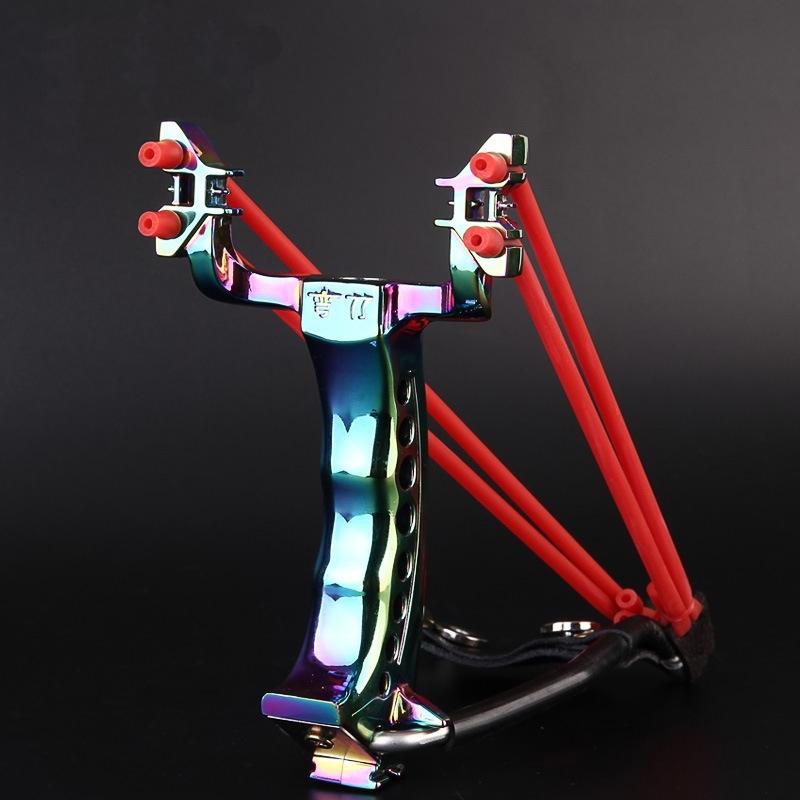 Prix pour 2 Bandes de Caoutchouc 200 Balles Pliage du Poignet Slingshot Catapult Extérieure Jeux Puissant Chasse Arc et Flèche Outils Chasse Slingshot