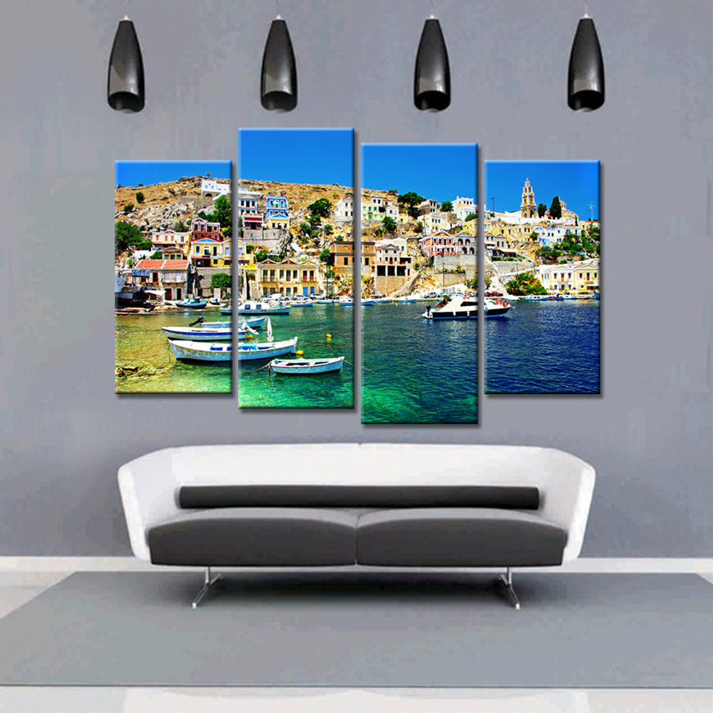 4 Pieces Dropshipping Coastal City Canvas Painting Landscape Home Decor Art  Nordic Posters And Prints For Living Room No Frame In Painting U0026  Calligraphy ...