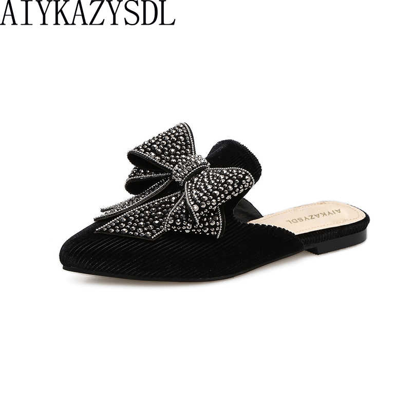 AIYKAZYSDL Spring Autumn Women Bowtie Bow Knot Flats Corduroy Velvet Mules  Slip On Flat Shoes Crystal 50973d0c1830