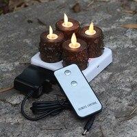 4 Unids Listo Remoto Recargable Té Votivas luz LED Velas Con Temporizador de 5 Horas Para la boda y la Decoración Del Hogar 1.5*2.2 pulgadas