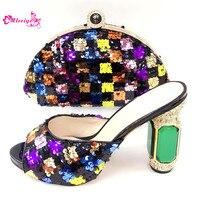 Комплект из итальянских фиолетовых туфель и сумочки в нигерийском стиле, комплект из туфель и сумочки высокого качества, женские свадебные