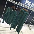 2016 Limited Chándales Ladies Knitting Traje Nuevo Retro Cardigan de Punto Pequeño Fragante Viento Pantalones Anchos de La Pierna Pantalones de Tres piezas