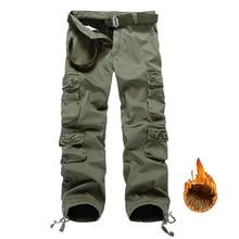Trasporto di goccia Degli Uomini In Pile Cargo Pantaloni di Cotone degli uomini di Inverno Pantaloni Mimetici Militari Pantaloni ABZ104