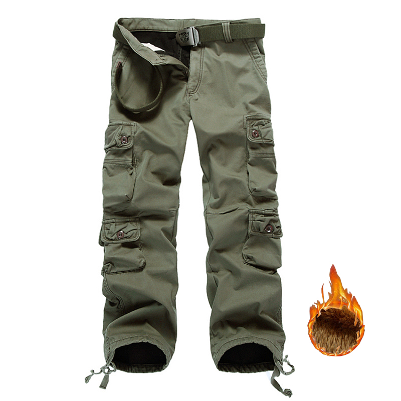 Drop Shipping Men Fleece Cargo Pants Cotton Winter Men's Camouflage Trousers Military Pants ABZ104