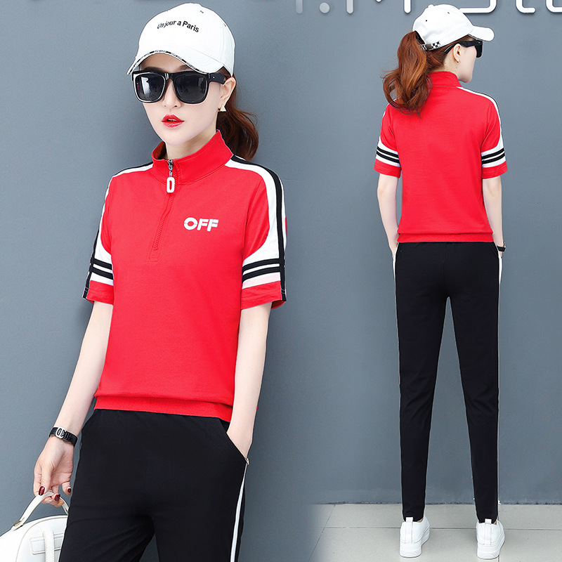 summer women sportswear tracksuit short sleeve T-shirt sweatshirt+pant running jogger exercise fitness workout casual sport suit 53