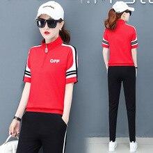 summer women sportswear tracksuit short sleeve T-shirt sweatshirt+pant running jogger exercise fitness workout casual sport suit цены