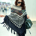 Pull Femme Hiver Tassel Cloak Geometric Shawls Long Women Sweaters And Pullovers