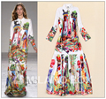 2015 Autumn Woman Fashion Trend Brand Designer Plus Size Long Sleeve Vintage Ethnic Print Long Maxi Runway Beach Bohemian Dress