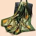 2016 Большой Размер Косынка Женщины Моды Марка Высокое Качество Имитационные Шелковый Атлас Шарфы Полиэстер Шаль Хиджаб 90 см * 90 см