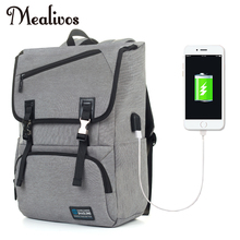 Mealivos Anti-theft Water Resistant Polyester Laptop Vintage Backpack with USB Charging Port Under 17-Inch Laptop and Notebook