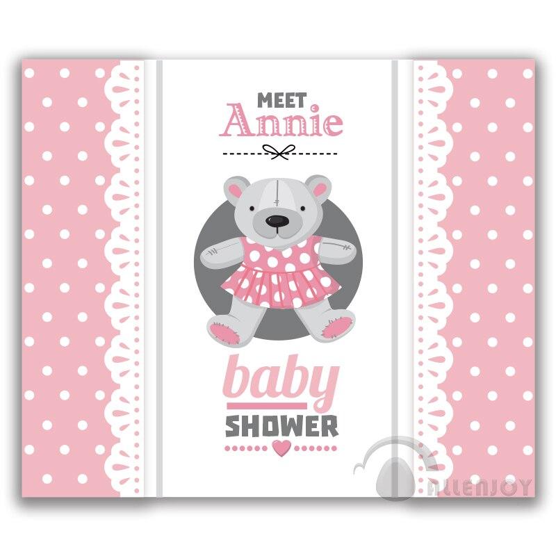 Girls Birthday Baby Shower Teddy bear Banner Backdrop Invitation ...