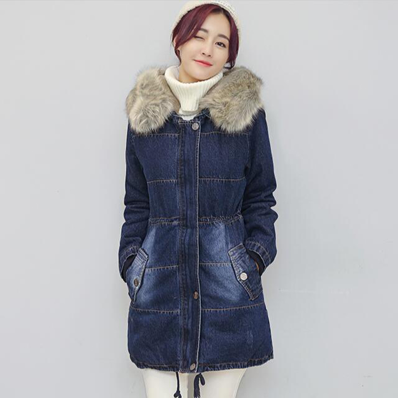 2017 Fashion Casual Denim Jackets Winter Coat Women Faux Fur Hooded Thick Warm Outwear Long Cotton Padded Jeans Parkas coat U408 fashion 2017 women winter jacket warm fur hooded parkas female long casual cotton padded thickening winter coat outwear cm1412