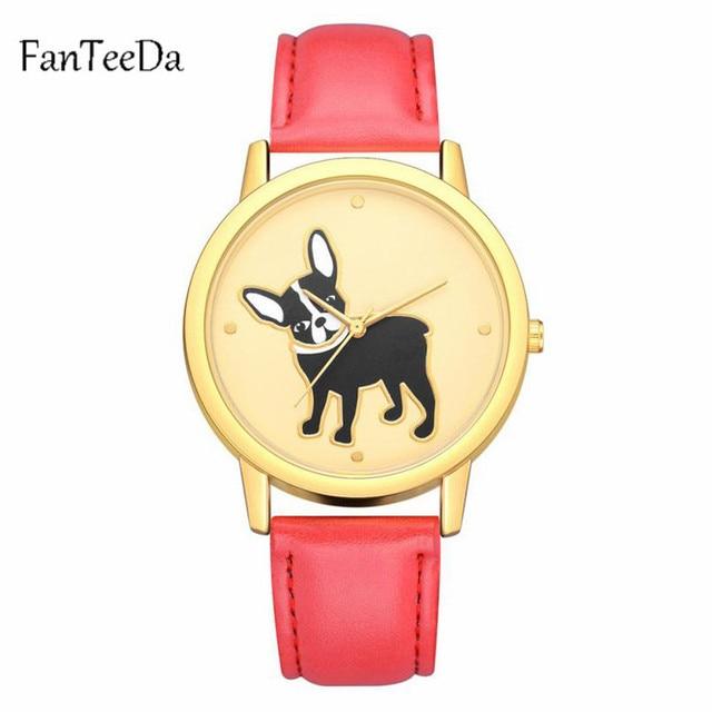 FanTeeDa Watches Women Quartz Clock Top Brand Watches Leather Women Watch Causal Dog printing Simple Wristwatch Montre Femme#3G