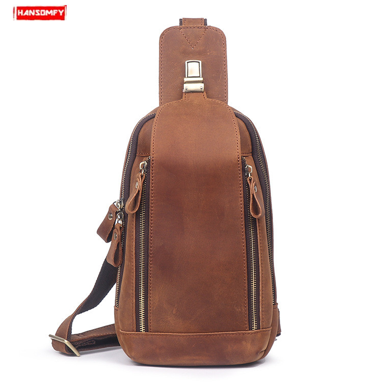 New Genuine Leather men s chest bag retro body crazy horse leather chest top layer leather
