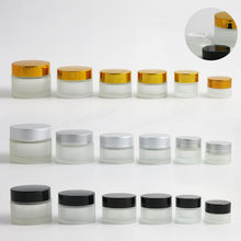 200 x 100g 50g 30g 20g 15g 10g 5g Frost Glass Cream Jar with silver gold black lids 1oz Glass Container 1/3oz Cosmetic Packaging(China)