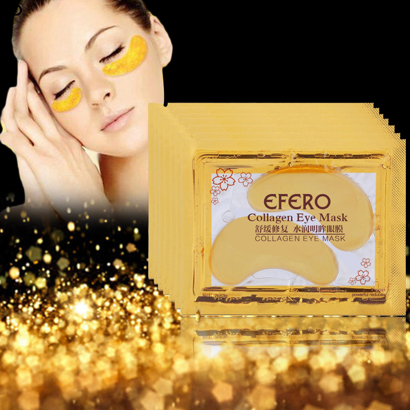 efero 10Pack Anti-Wrinkle Crystal Collagen Eye Mask Patch Remove Anti-Puffiness Dark Circle Gold Moisturizing Face