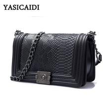 2017 berühmte Marke Tasche Frauen Alligator Pu Leder Umhängetaschen Ketten Block Tasche Hohe Qualität Frauen Messenger Bags