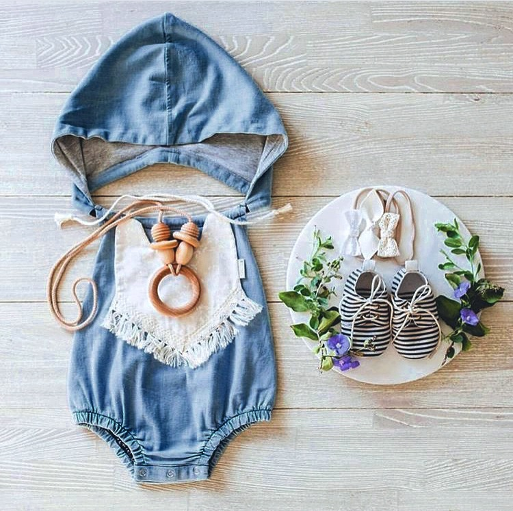 2017 Sweet Toddler Baby Kids Denim Hoodie Vintage Rompers Loose Summer Casual Clothing Sleeveless Rompers