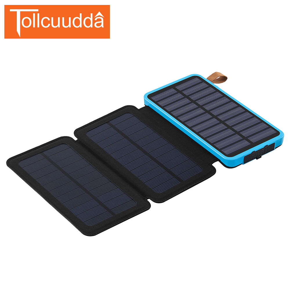 Tollcuudda 3 Folds Universal Solar Power Bank Foldable External Battery Portable Charger Poverbank For Xiaomi Iphone