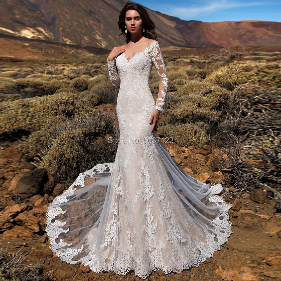 Mermaid Wedding Dresses Lace Appliques Long Sleeves V Neck Court Train Illusion Wedding Bridal Gown Vestido De Noiva Custom Made