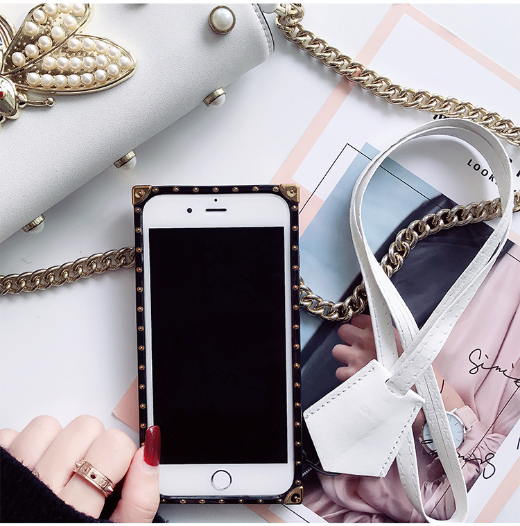 SZYHOME Phone Cases for iphone X 6 7 8 Plus Vintage Business Luxury PU Leather Fashion Square Lattice Phone Cover Accessories