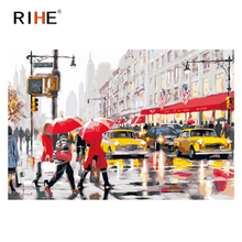 RIHE Paris Street Painting By Numbers,Frameworks coloring Paint by numbers,Wall Art Picture, DIY Canvas Modular painting 40x50CM rihe exquisite rose flowers framed oil painting by numbers coloring by numbers modern wall art picture home decoration 40x50cm