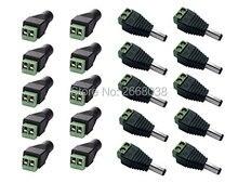 50computer x Male + 50computer x Feminine 2.1×5.5mm connecteur led DC Energy Cable Jack Adapter Equipment Plug Led Strip CCTV Digital camera Use 12V