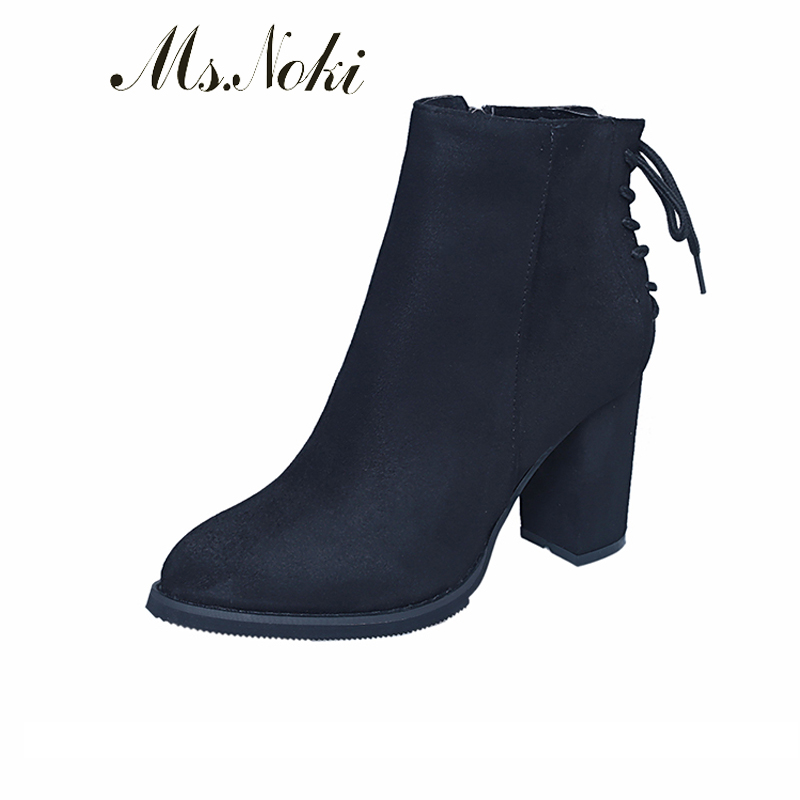 2017 summer Ms Noki Flock ankle boots fashion square heel Square heel shoes women boots high heel Pointed toe lady boots ms noki fur new fashion style black ankle boots flats pointed toe back slip on boots pu flock woman shoes with warm fur outside