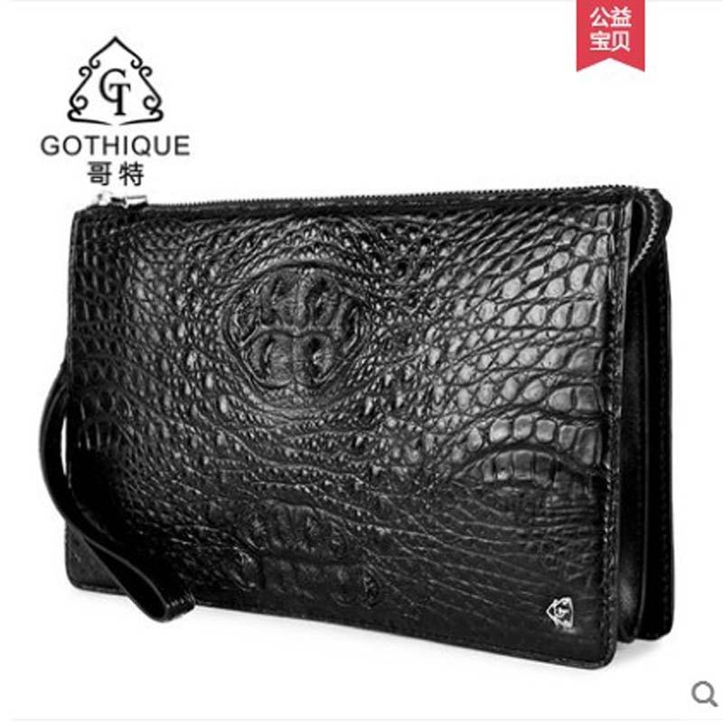 gete 2019 new New crocodile leather handbag large capacity wallet crocodile leather bag business men's bag wrist bag big