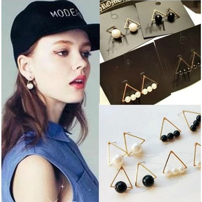 New Hot New Korean Fashion Creative Lovely Temperament Wild Triangle Pearl Earrings Girls Wholesale
