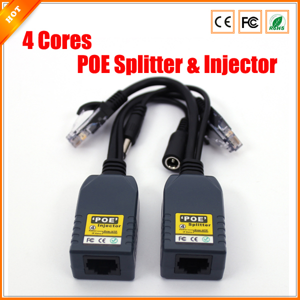 4 Cores Poe Splitter For Security System Injector For Ip