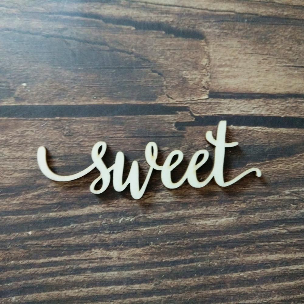 10pcs Rustic Sweet Word Charlie Script Wood Sign Laser Cut