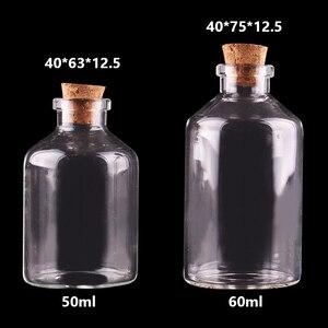 Image 1 - 20ピース50ミリリットル60ミリリットル小さなガラスびんコルク栓空スパイス瓶ギフト工芸品バイアル