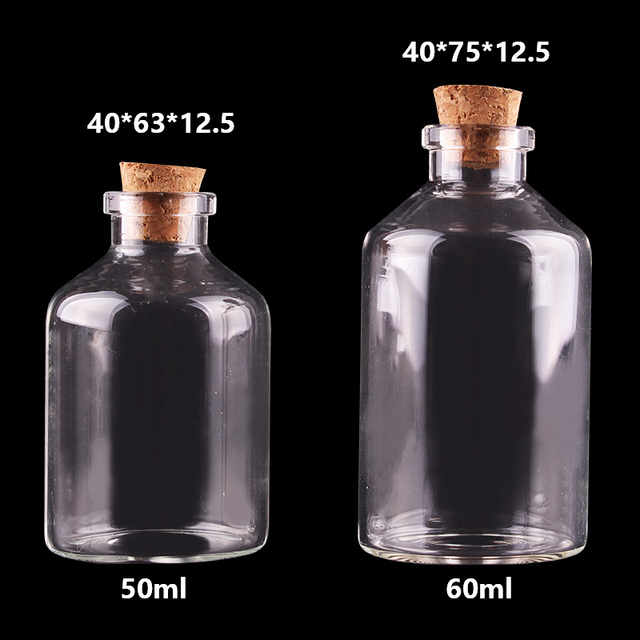 20pcs 50ml 60ml Small Glass Bottles with Cork Stopper Empty Spice Bottles Jars Gift Crafts Vials