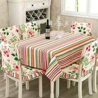5 Styles Table Cloth Chair Covers With Pad Table Cover Seat Covers Canvas Stripe Plaid Flower
