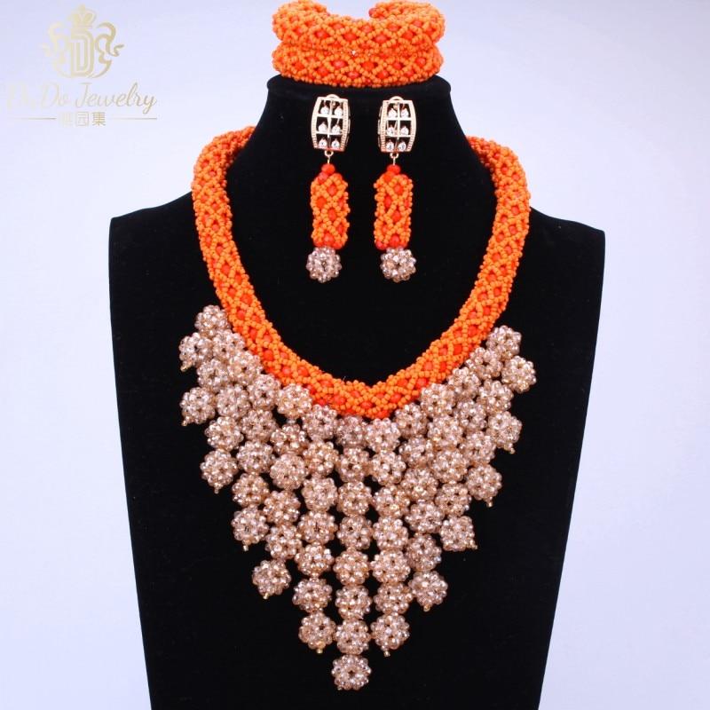 Splendid Crystal Balls Beads For Women Orange Italian Gold African Nigerian Wedding Jewelry Sets China Necklace Bracelets 2017